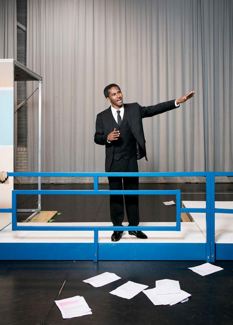 Acteur José Montoya als Martin Luther King, Amsterdam. Beeld Judith Jockel