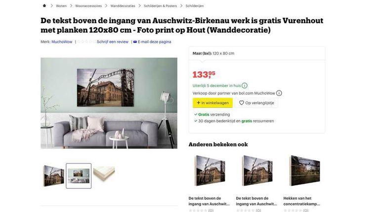 In navolging van Amazon heeft ook Bol.com decoraties met afbeeldingen van concentratiekamp Auschwitz-Birkenau uit de verkoop gehaald. Het gaat bij Bol.com om wanddecoraties van canvas of hout.