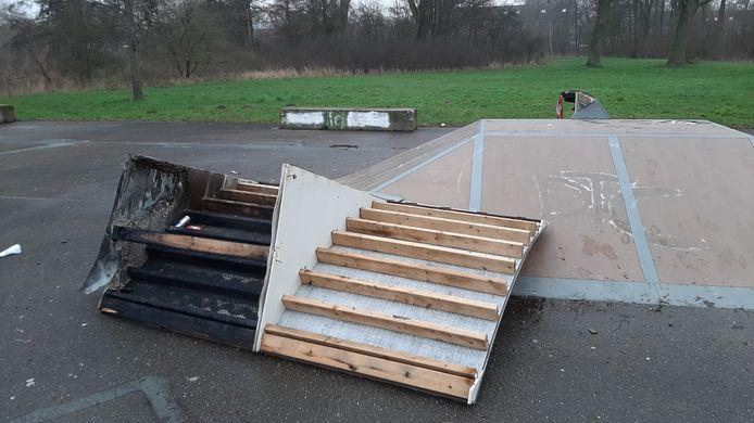 De vernielingen op skatepark De Huet.