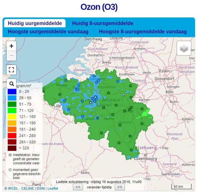Vandaag loopt de ozonconcentratie op tot zo'n 70 microgram per kubieke meter. Vanaf 180 stuurt Europa een waarschuwing uit.