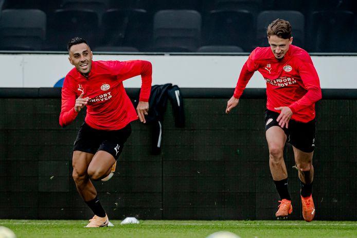 Eran Zahavi of PSV, Olivier Boscagli of PSV during Training PSV in Norway NETHERLANDS ONLY COPYRIGHT SOCCRATES/BSR
