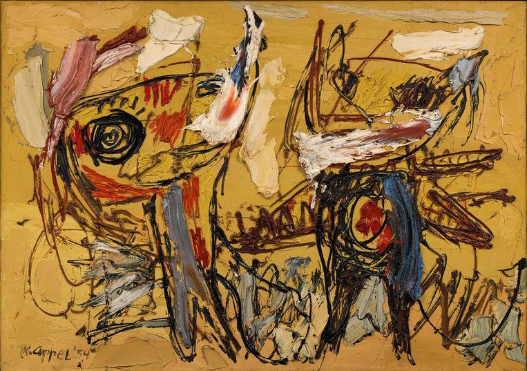 Karel Appel, De Woestijn Dansers, 1954, olieverf op doek, 117 x 166 cm, olieverf op doek, collectie Musée d'Art Moderne de la Ville de Paris, France. Beeld  Karel Appel Foundation, c/o Pictoright Amsterdam, 2020
