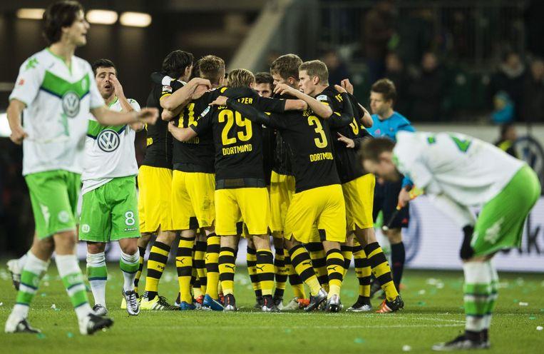 Dortmund wint van Wolfsburg. Beeld afp