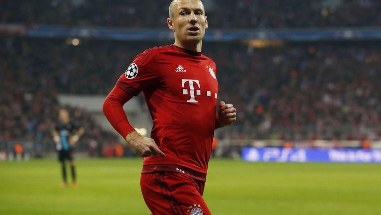 Robben viert de vierde goal tegen Arsenal. Beeld photo_news