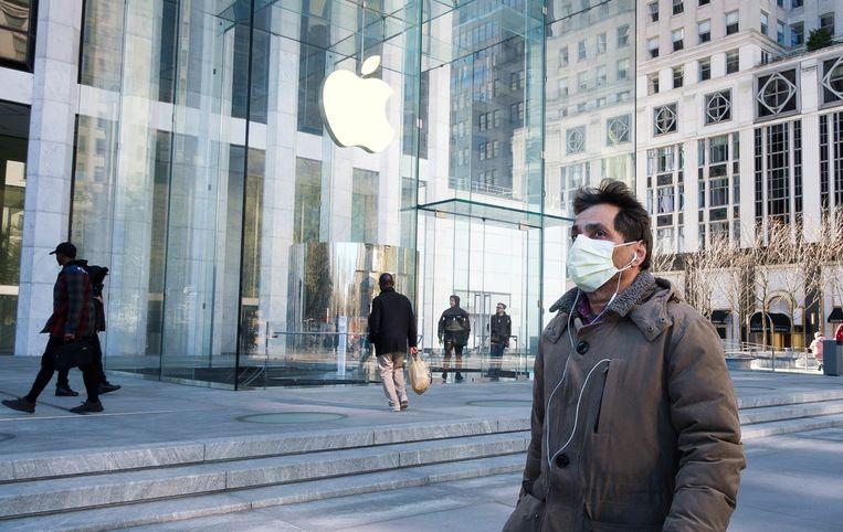 Een winkel van Apple in New York. De techreus behoort tot bedrijven die ervan worden beschuldigd hun dominante positie te misbruiken. Beeld EPA