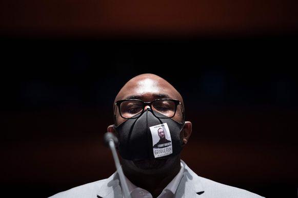 Philonise Floyd bij zijn getuigenis in het Huis van Afgevaardigden vanmiddag.