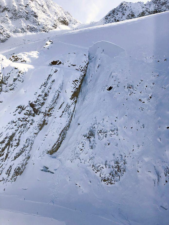 De lawine in het Oostenrijkse Sölden waarbij twee Nederlanders om het leven kwamen.