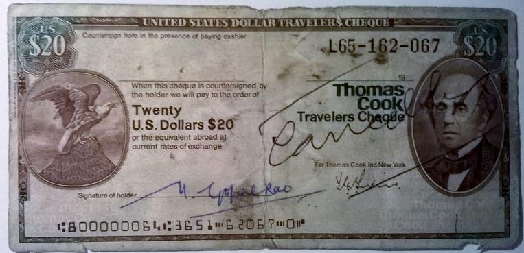 Op de Thomas Cook Travellers Cheque prijkte zijn beeltenis.
