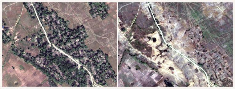 Mensenrechtenorganisatie Human Rights Watch baseert zich op satellietbeelden.