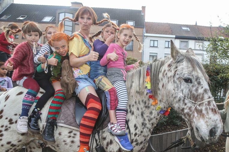 Pippi Langkous op bezoek in freinetschool Het Trappenhuis in Gent.