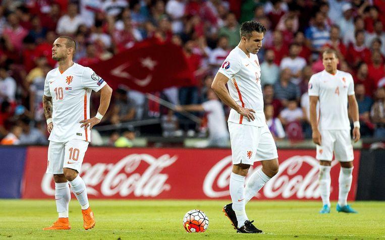 Wesley Sneijder, Robin van Persie en Jeffrey Bruma. Beeld anp