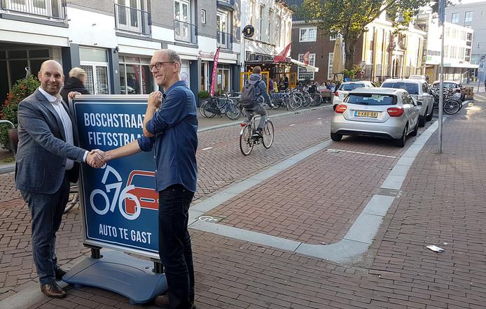 Boschstraat in Breda is Fietsstraat; het kan niet vaak genoeg benadrukt worden. Foto Steven van Beek