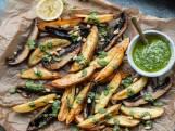 Wat Eten We Vandaag: Vegan traybake met pesto, aardappel en portobello