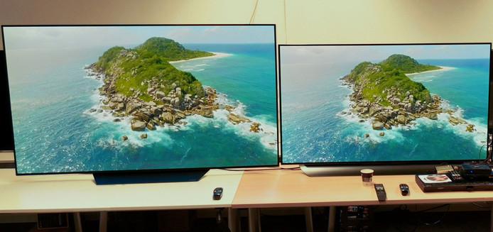 LG OLED B8 (links) naast LG OLED C8 (rechts)