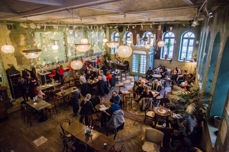 In café Hevre zijn de muurschilderingen van de vroegere synagoge nog aanwezig.  Beeld Adrianna Bochenek