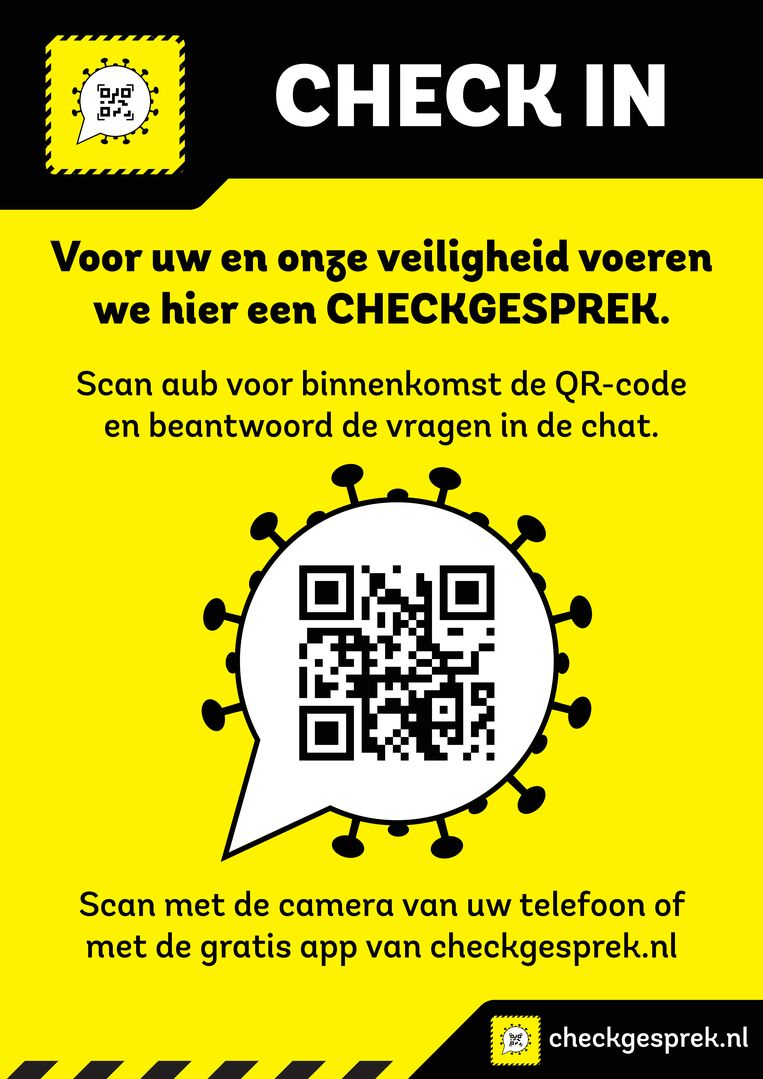 Een kroeg binnenstappen? Dan eerst de corona-check doen. Een nieuwe app moet dat mogelijk maken. Beeld Checkgesprek.nl