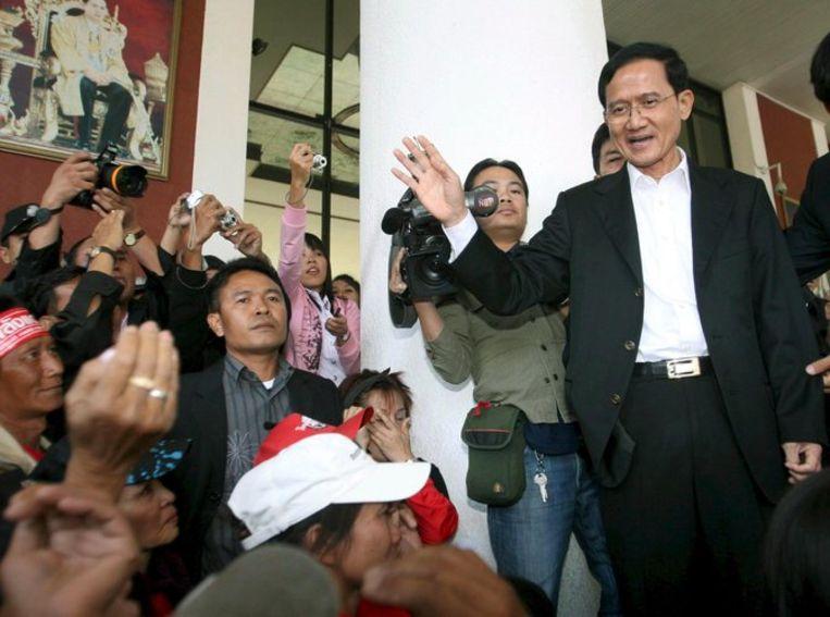 Premier Somchai, die door de protesten steeds meer geïsoleerd was geraakt en de afgelopen week regeerde vanuit de noordelijke stad Chiang Mai, respecteert het vonnis van het hof. Foto EPA/Chiang Mai Beeld