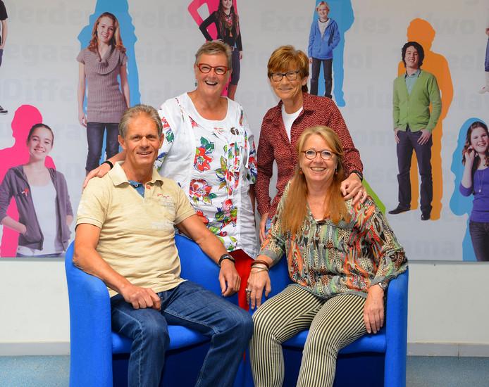 De jubilarissen Ad Joore, Paulien Roijmans, Helma van Dinther en Inge Levy (van links naar rechts).