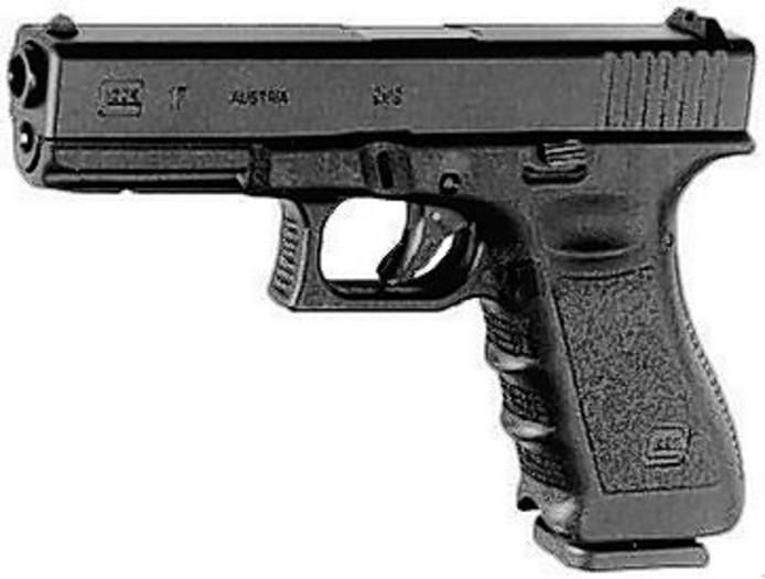 Een Glock 9 mm pistool, zoals onder andere bij een Eindhovenaar is gevonden. Volgens hem was het ding van Dennis Struijk