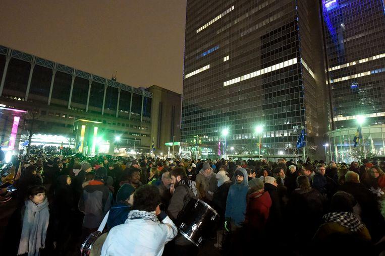 Demonstranten aan het Noordstation.