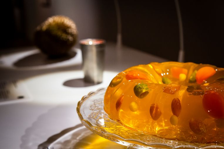 Amerikaanse drilpudding met groenten in het Disgusting Food Museum.