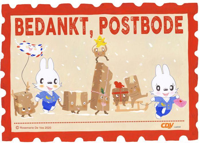 De postbodes kan je bedanken met een raamaffiche of kleurplaat.