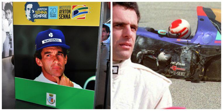 Links een gedenkplaat voor Ayrton Senna, rechts Roland Ratzenberger in zijn gecrashte bolide.