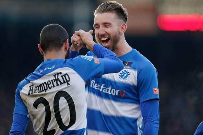 (L-R) *Youssef el Jebli* of De Graafschap, *Fabian Serrarens* of De Graafschap celebrate goal