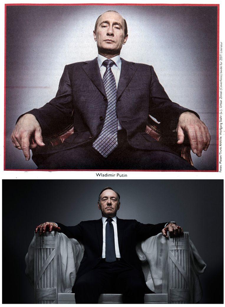De Russische president Vladimir Poetin, afgebeeld als hoofdrolspeler Kevin Spacey in House of Cards. Spacey speelt Francis Underwood, een politicus die over lijken gaat om de top te bereiken. Beeld Die Zeit/Netflix