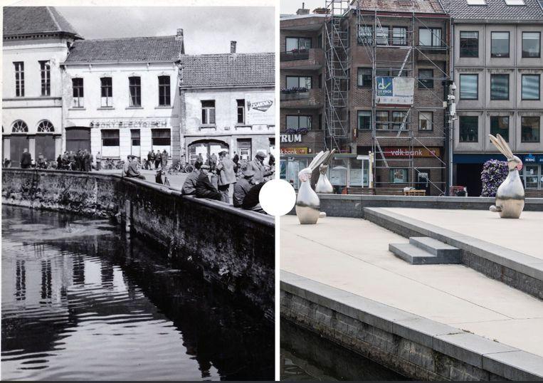 Het paviljoen aan de Durme in 1958 en nu.