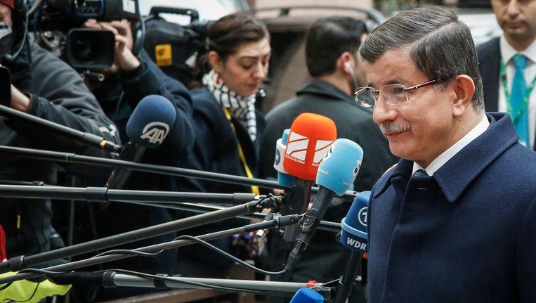 De Turkse premier Ahmet Davutoglu in Brussel. Beeld belga
