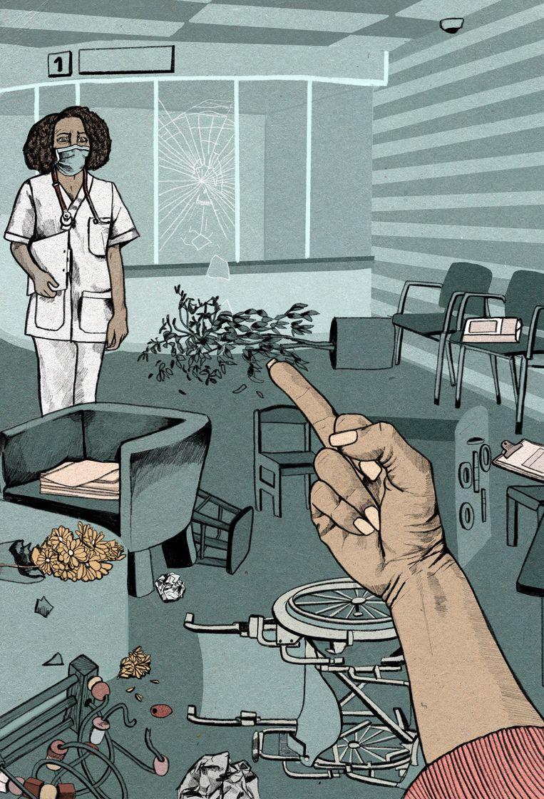 Geweld tegen verpleegkundigen tijdens corona. Beeld Rosa Snijders