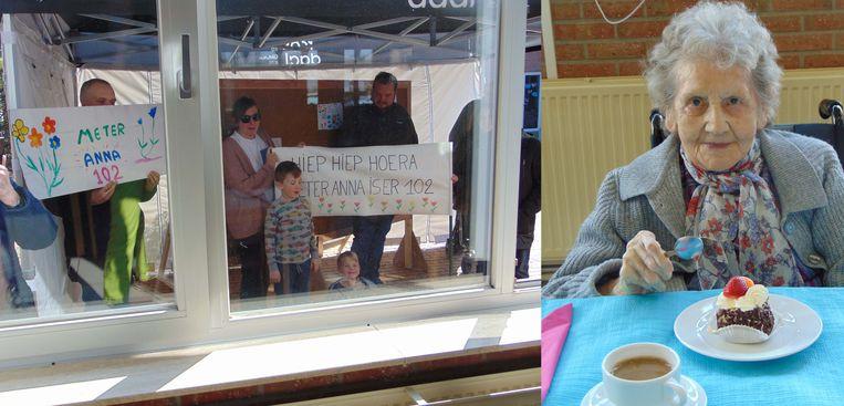 Johanna vierde haar 102de verjaardag met de andere bewoners, terwijl de familie buiten moest blijven door de coronamaatregelen.