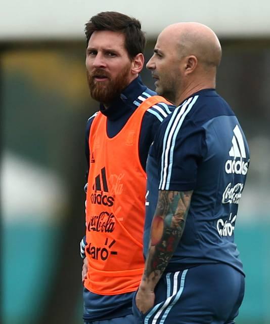 Messi met bondscoach Sampaoli.