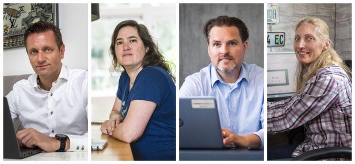 Vier thuiswerkers. Vlnr: Bas ter Heurne, Musetta Blaauw, Alfred Dekker en Carola Rijnbeek.