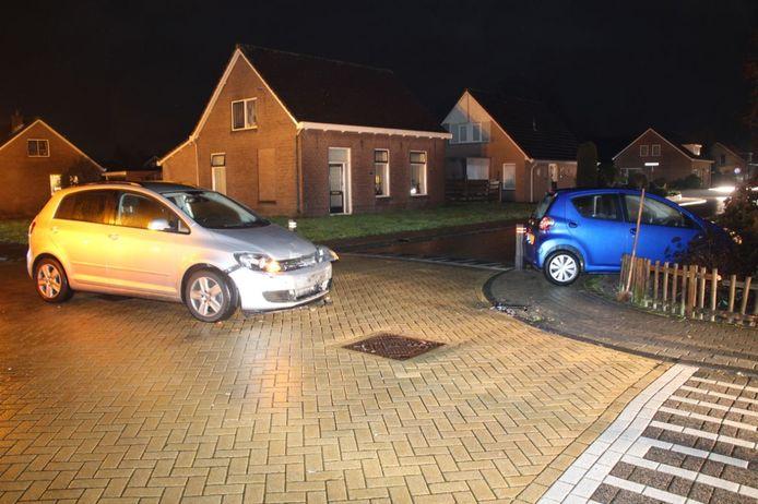 Na een botsing belandde een automobilist met zijn auto in een voortuin.