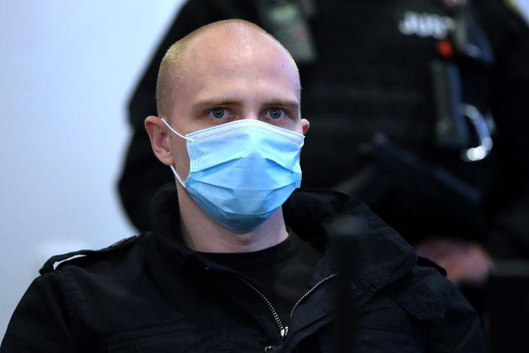 Stephan Balliet woensdag in de rechtszaal in Maagdenburg. Beeld AFP