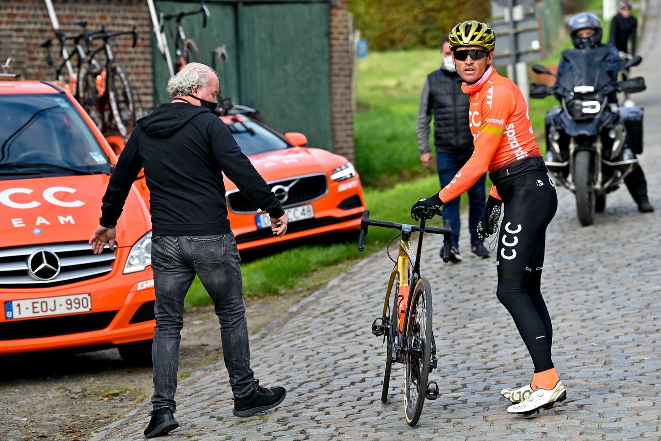 Greg Van Avermaet tijdens de verkenning.