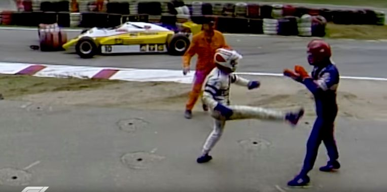 Nelson Piquet versus Salazar Formule 1 GP Hockenheim 1982