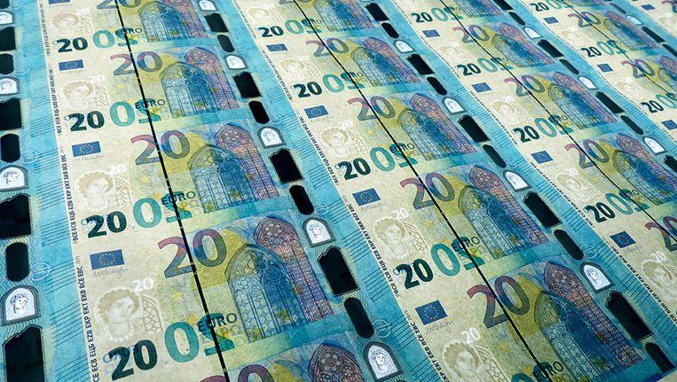 Rechtsboven is in hologram prinses Europa te zien. Beeld ECB