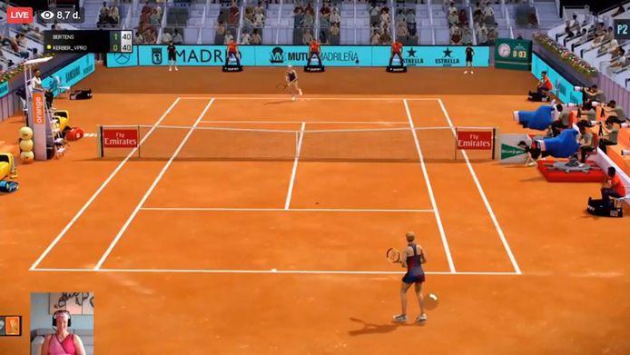 Kiki Bertens speelt virtueel tennis tijdens het Mutua Madrid Open.