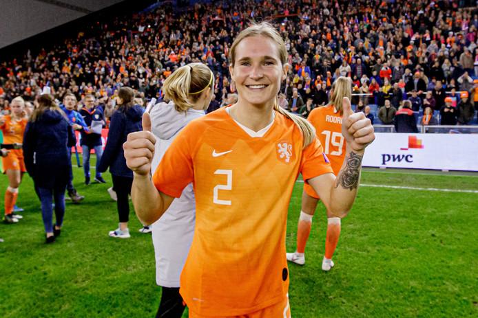 Desiree van Lunteren na Nederland - Slovenië (4-1) vorige week dinsdag. Het bleek haar laatste interland.