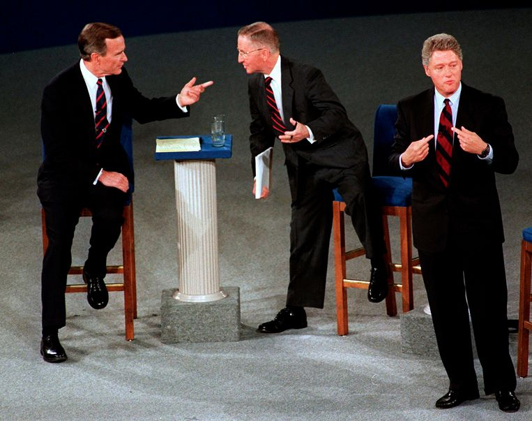 De Texaanse miljardair Ross Perot in 1992 in debat met president George H.W. Bush en de Democratische kandidaat Bill Clinton. Beeld null