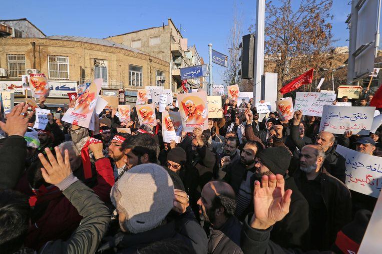 Iraans protest bij de Britse ambassade in Teheran.