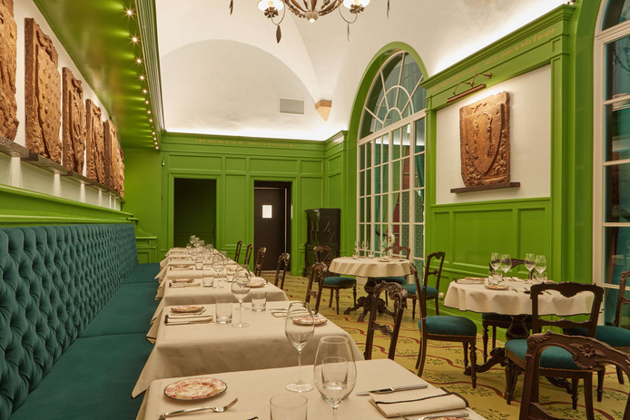 Gucci's restaurant in Florence, in samenwerking met sterrenchef Massimo Bottura.