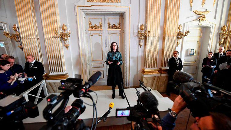 Sara Danius, secretaris van de commissie die jaarlijks de Nobelprijswinnaar kiest in de categorie literatuur. Beeld null