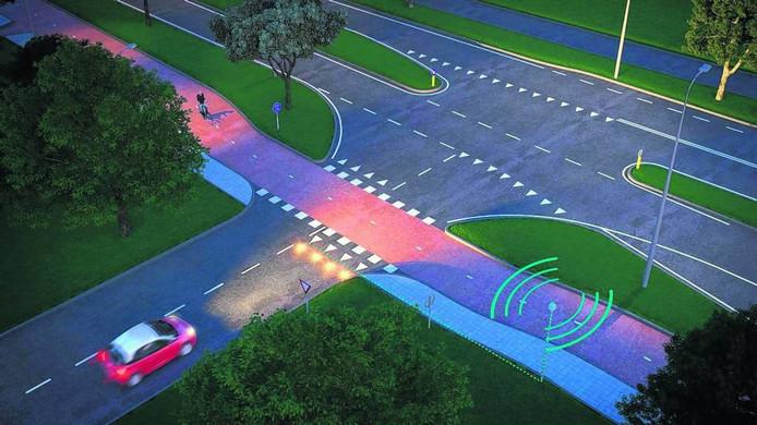 Het systeem van Heijmans waarbij waarschuwingslampen aangaan bij naderende fietsers.