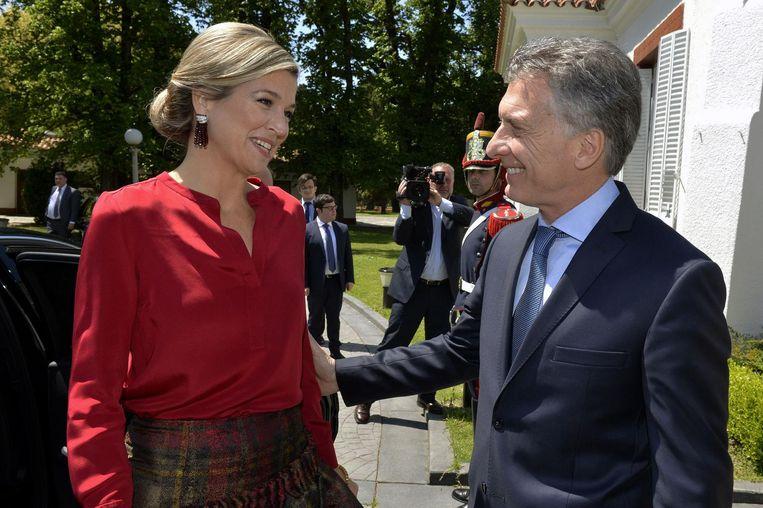 Koningin Máxima en de Argentijnse president Mauricio Macri. Beeld afp