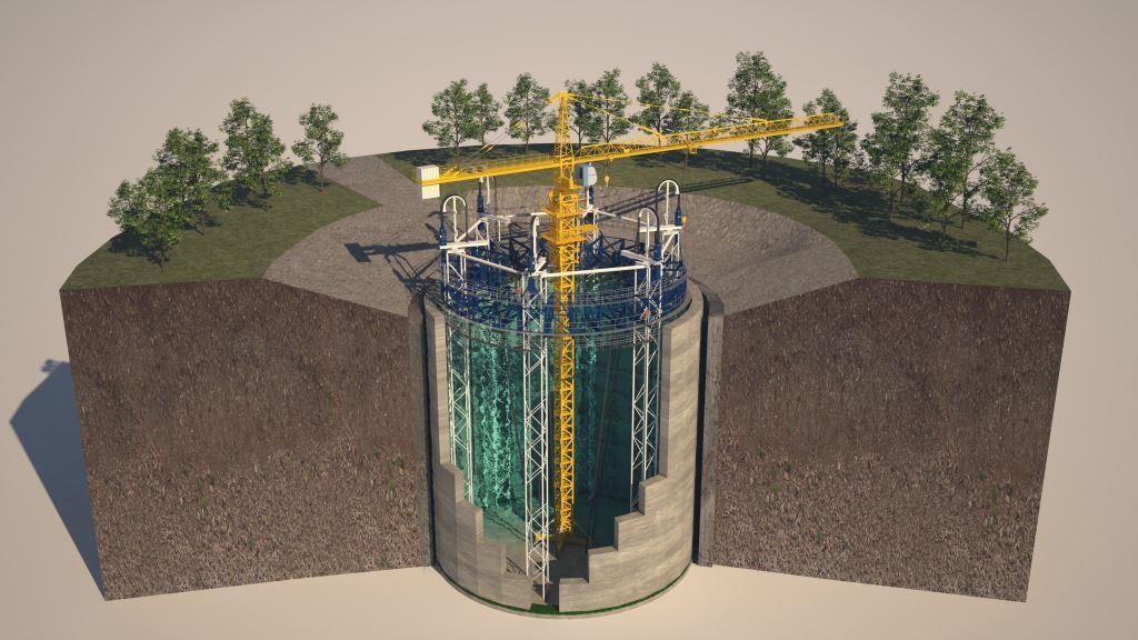 Een impressie van de ondergrondse energieopslag in een Ecovat zoals die bij Het Dorp in Arnhem wordt gebouwd.