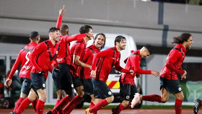 AFC viert de 1-0 tegen TOP Oss in de tweede ronde van de beker. Beeld Pro Shots / Toon Dompeling